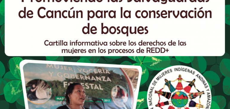Mujeres indígenas promoviendo las salvaguardas de Cancún para la conservación de bosques