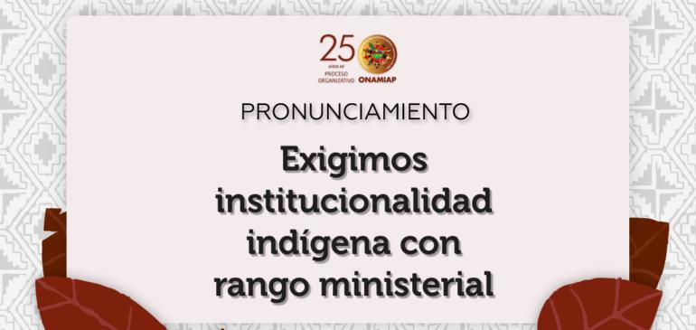 Exigimos institucionalidad indígena con rango ministerial