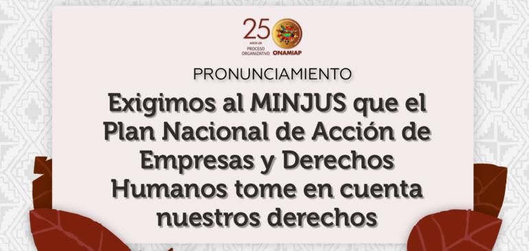 Exigimos al MINJUS que el Plan Nacional de Acción de Empresas y Derechos Humanos tome en cuenta nuestros derechos