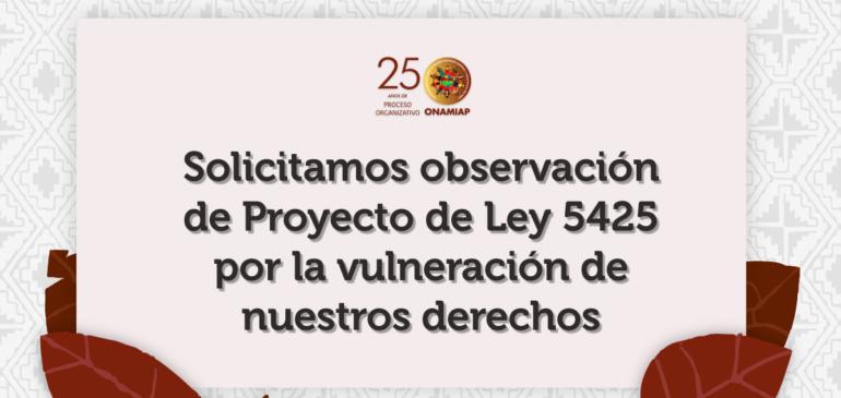 Solicitamos observación de PL 5425 por la vulneración de nuestros derechos