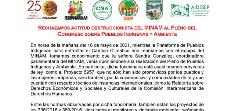 RECHAZAMOS ACTITUD OBSTRUCCIONISTA DEL MINAM AL PLENO DEL CONGRESO SOBRE PUEBLOS INDÍGENAS Y AMBIENTE