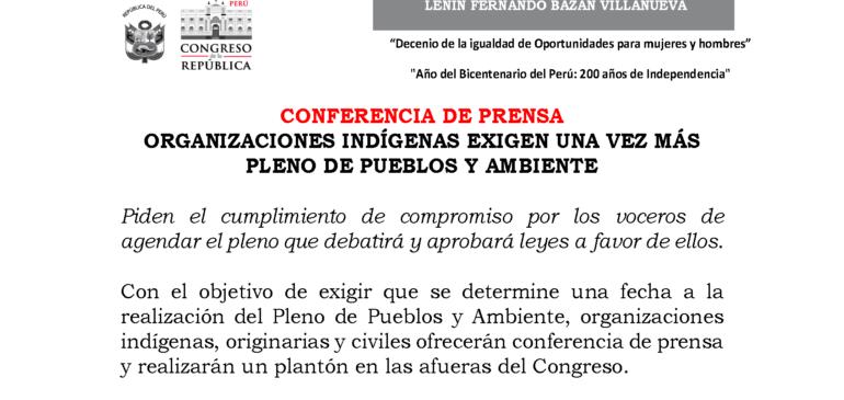 Conferencia de prensa: Organizaciones Indígenas exigimos una vez más Pleno de Pueblos y Ambiente