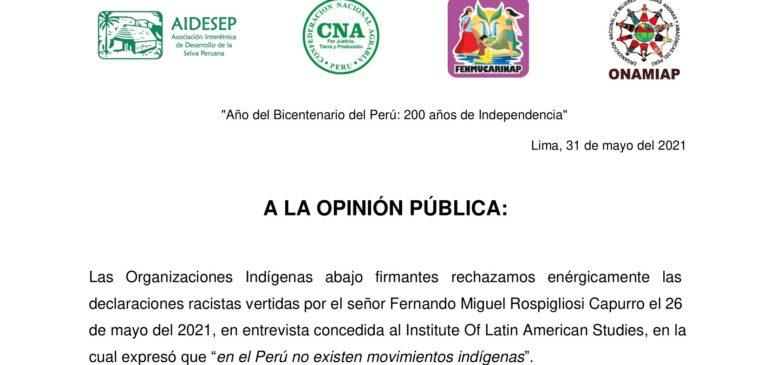 Pronunciamiento conjunto de organizaciones indígenas a la opinión pública